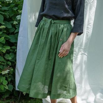 Льняная юбка широкая на поясе