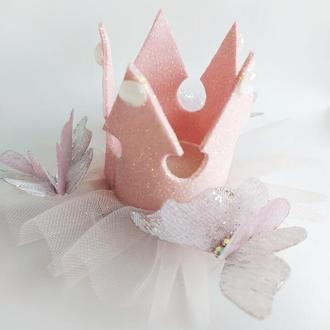 Коронка для маленькой принцессы (пудровая) на зажиме