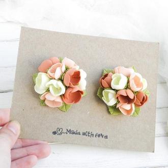 Заколки резинки с цветами для девочки