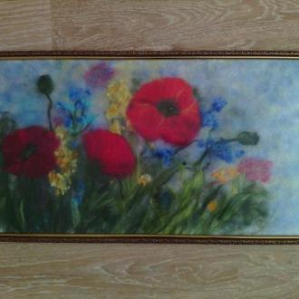 """Картина шерстью """"Маки и полевые цветы"""""""