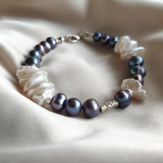 Ассиметричный браслет из натурального жемчуга, Серебряный браслет из жемчуга, Подарок женщине