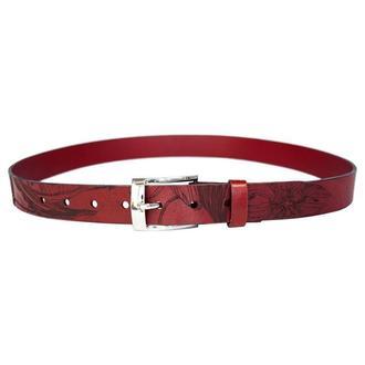 Красный пояс Franko Nata flowers 30 Red belt из кожи растительного дубления