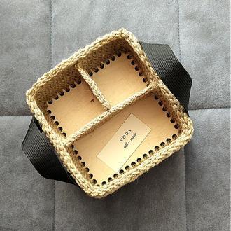 Корзина органайзер из джута квадрат. Корзинка для косметики.