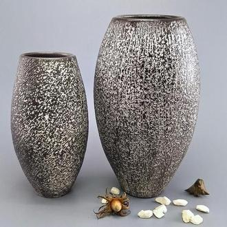 Большая керамическая ваза в стиле арт-деко, ручной работы , высота 25 см.  Черно-белая, арт.№46