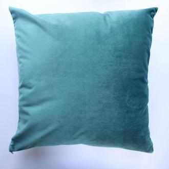 Голубая велюровая наволочка для декоративной подушки