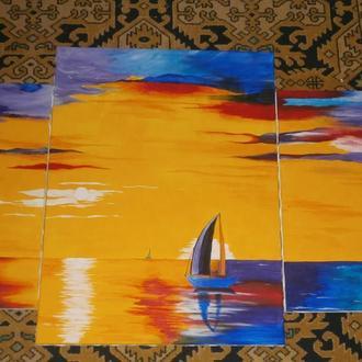 """Модульная картина """"Вечернее море"""""""