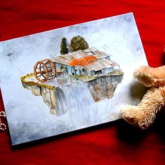 """Картина """"Дом с водопадом"""""""
