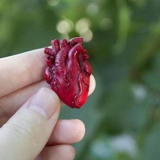 Брошь анатомическое сердце,  подарок на День Святого Валентина, подарок на Хеллоуин