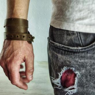 Мужской кожаный браслет с гравировкой | БЕСПЛАТНАЯ ГРАВИРОВКА | Kozhemyaka ❤