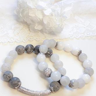 Набор браслетов из натуральных камней, браслет из яшмы, агата, нефрита,браслет на подарок