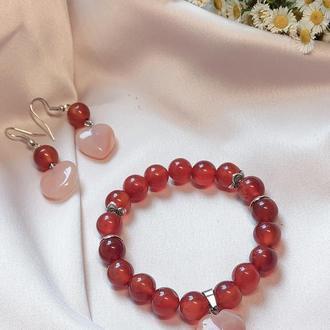 Набор украшений, браслет и серьги из натуральных камней, браслет из сердолика, серьги из сердолика
