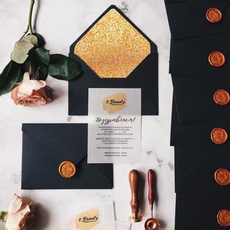 Black&Gold Свадебные приглашения / подарочные сертификаты весільні запрошення сертифікат