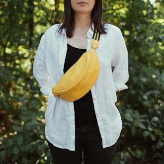 Кожаная Бананка, желтая поясная сумка, стильная сумка Кроссбоди, женская сумка из кожи