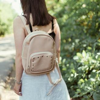 Бежевый кожаный рюкзак, стильный рюкзак из натуральной кожи, светлый рюкзак, стильный рюкзак