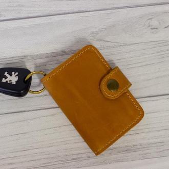 Женский брелок кошелек для водительських прав. Чехол для автодокументов. Карт холдер из кожи. Желтый