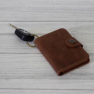 Стильный брелок кошелек для водительських прав. Чехол для автодокументов. Карт холдер из кожи