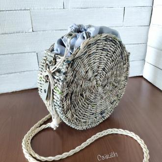 Плетёная сумка-таблетка, кроссбоди