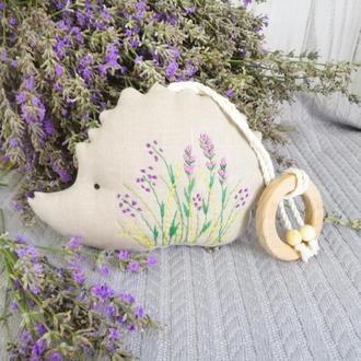 Льняная игрушка погремушка ЁЖИК, с эко грызунком