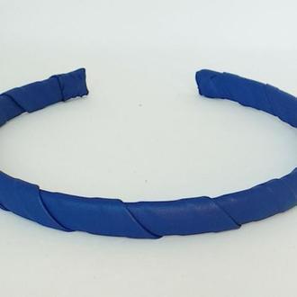 Обруч на голову ободок для волос синий из эко кожи узкий