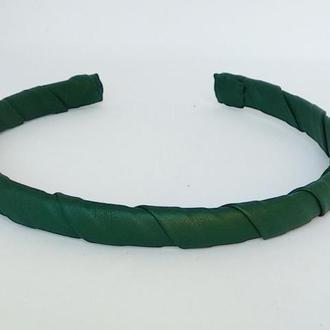 Обруч на голову ободок для волос зеленый из эко кожи узкий