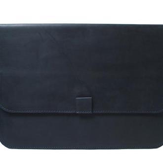 Кожаный чехол для Macbook на скрытом магните. 03003/синий