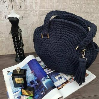 Круглая необычная сумка, маленькая черная сумка, вязанная крючком, сумка зефирка, Киев Харьков