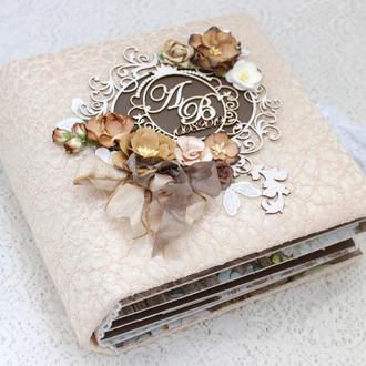 Свадебный фотоальбом скрапбукинг , свадебный альбом ручной работы , свадебный скрапальбом