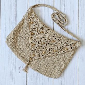 Вязаная сумка в этническом стиле