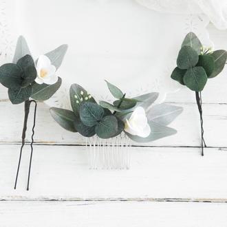 Свадебный гребень и шпильки с цветами и зеленью эвкалипта / Цветы в прическу невесте