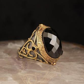 Оригинальный перстень из серебра 925 пробы с позолотой ручной работы с гравировкой