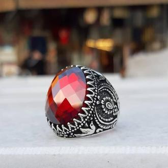 Огромная печатка перстень кольцо из серебра 925 пробы ручной работы