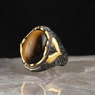 Перстень печатка с натуральными камнями