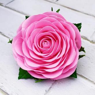 Заколка-брошь с розой