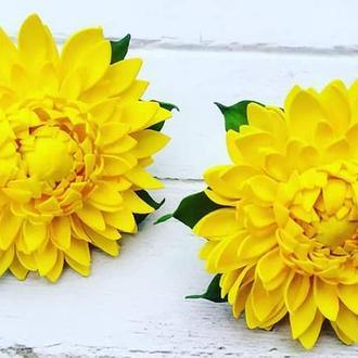 Жовті хризантеми на резиночках