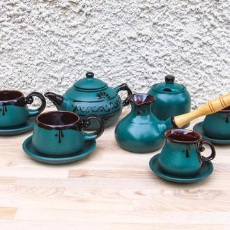 Чайно-кофейный набор Гута на 2 лица зеленый