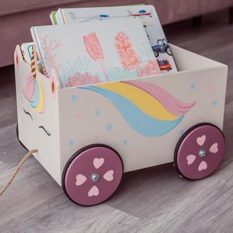 Ящик для игрушек-единорог, каталка, деревянный, WoodAsFun