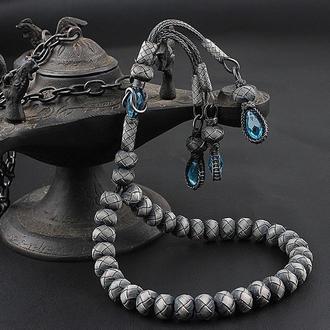 Четки с уникальным плетеным серебром сделанные вручную с голубыми камнями