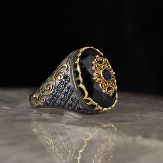 Чоловічий камінь Срібло ручної роботи печатка з гравіруванням і золотим напиленням