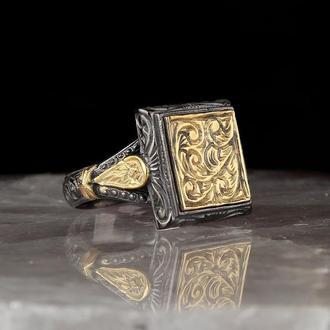 Мужское украшение из серебра 925 пробы Позолота с гравировкой ручной работы
