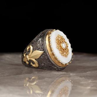 Купить кольцо мужское серебро, Камень Перламутр натуральный оригинальный, Позолота 14 карат