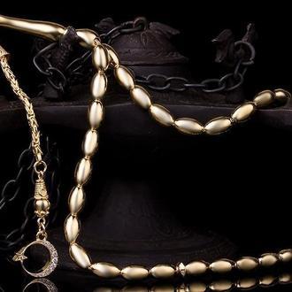 Серебряные мусульманские четки в позолоте 18 карат ручной работы с полумесяцем и звездой