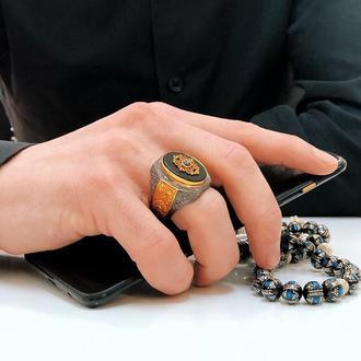 Кольцо перстень позолоченный мужской на подарок ручной работы из серебра