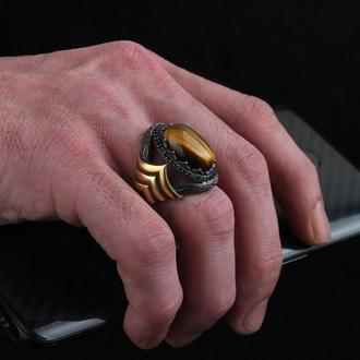 Турецкий стиль Перстень ювелирный с позолотой ручной работы для мужчин серебро 925 пробы