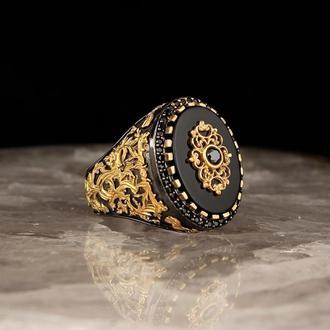 Винтажное кольцо с позолотой ручной работы из черненного серебра 925 пробы Камень черный оникс