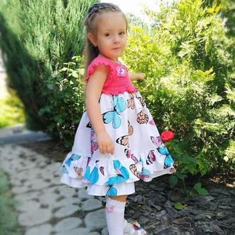 """Нарядное летнее платье """"Бабочки"""" для девочки, размер 104-116"""