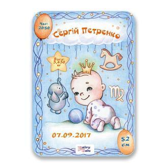 """Метрика постер для новорожденных А4 формат """"Дева"""" для мальчика"""