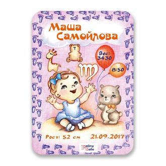 """Метрика постер для новорожденных А4 формат """"Дева"""" для девочки"""