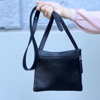 Женская кожаная сумка через плечо на длинном ремешке_сумка кроссбоди