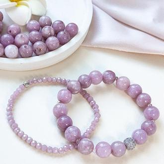 Набор браслетов из натуральных камней, браслет из лепидолита (кварца), горного хрусталя, подарок