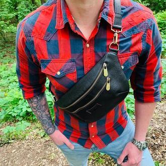 Мужская сумка на пояс , Бананка из натуральной кожи VS 055